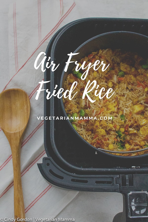 Air Fryer Fried Rice is a quick and easy air fryer recipe. No need to order take out, this air fryer fried rice will make your tummy happy without the hassle of extra oil and salt!#airfryer #friedrice