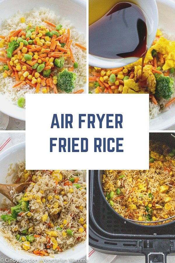 Air Fryer Fried Rice is a quick and easy air fryer recipe. No need to order take out, this air fryer fried rice will make your tummy happy without the hassle of extra oil and salt! #airfryer #friedrice