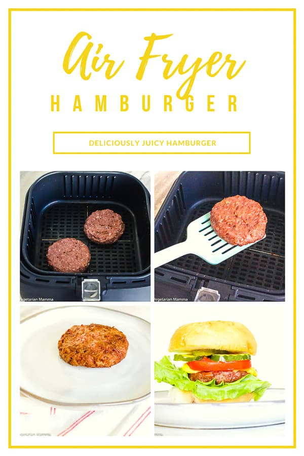 If you are on a quest to find the worlds best hamburger, then you need to try an air fryer hamburger. The glory about burgers in the air fryer is that they stay incredibly juicy! Whether you are making a beef, turkey or veggie burger, the air fryer burgers stay juicy and oh so delicious when you make them in the air fryer! #airfryerburger #airfryerhamburger