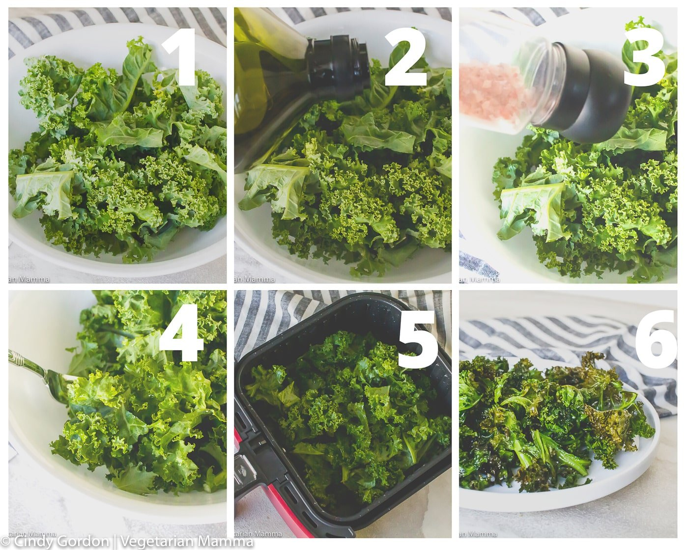 air fryer kale chips collage of picture instructions