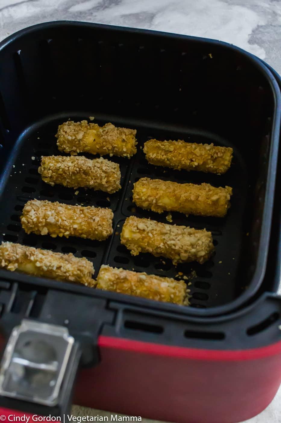 air fryer mozzarella sticks in air fryer basket