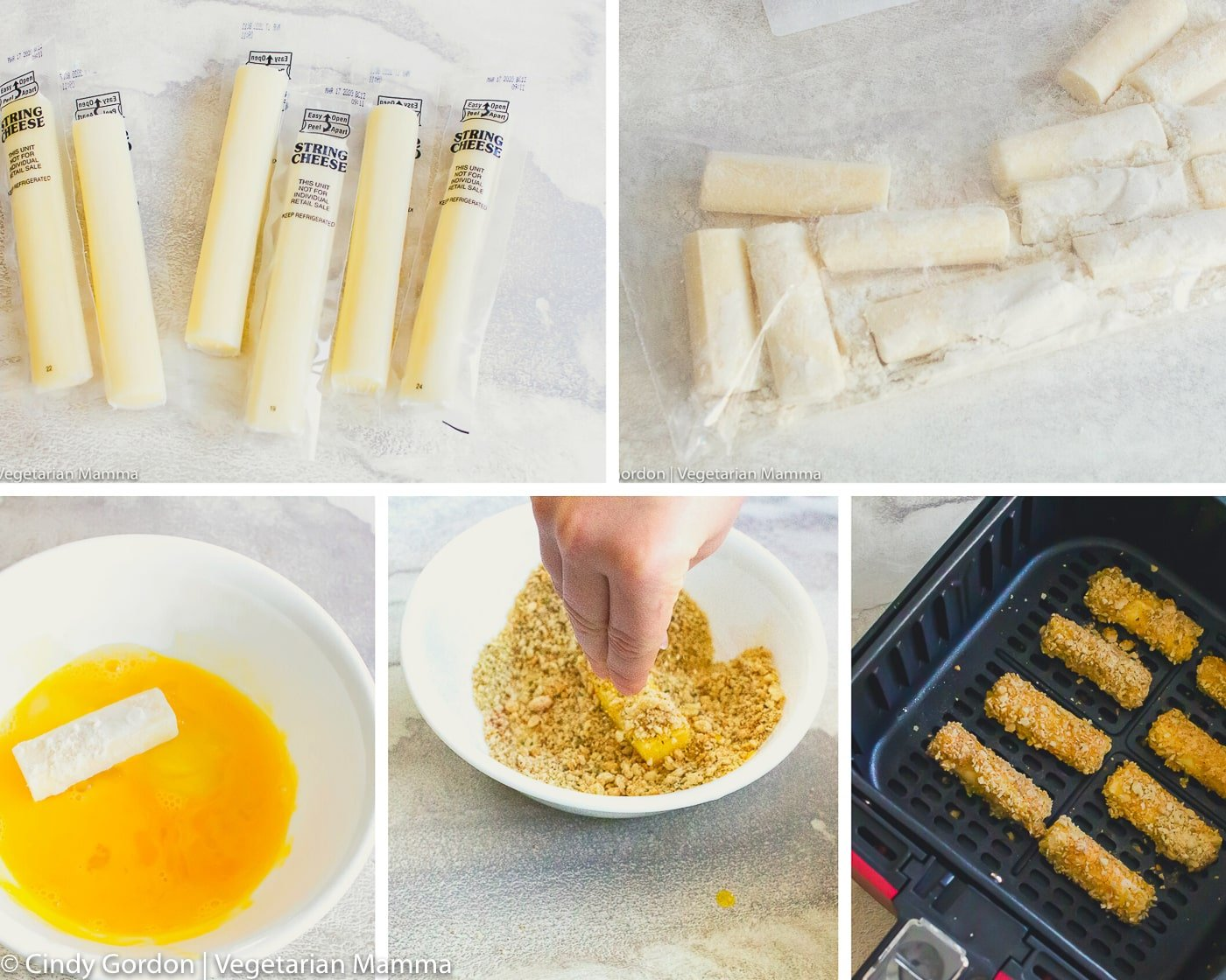 air fryer mozzarella instructional steps collage