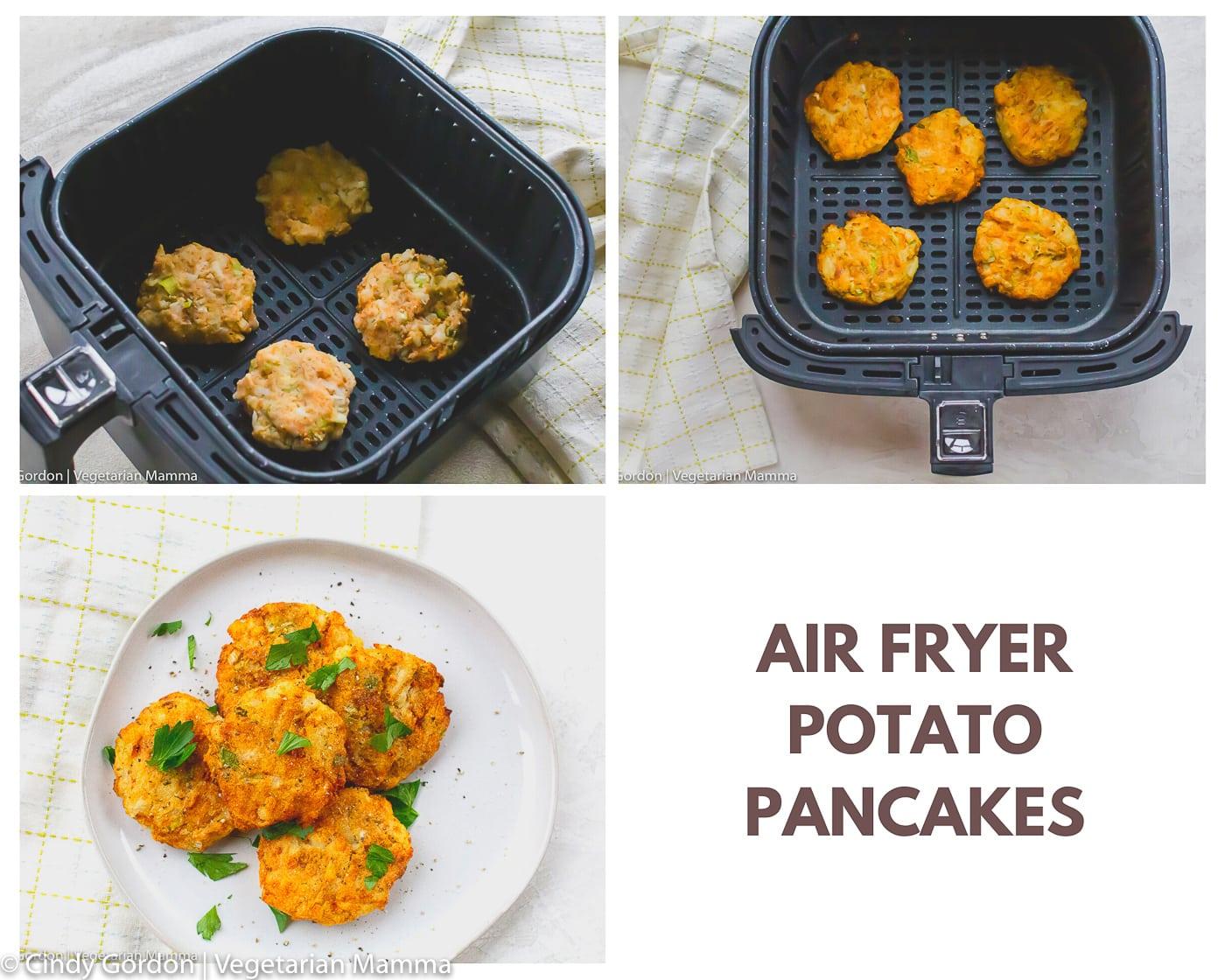 last three steps of making leftover mashed potato pancakes