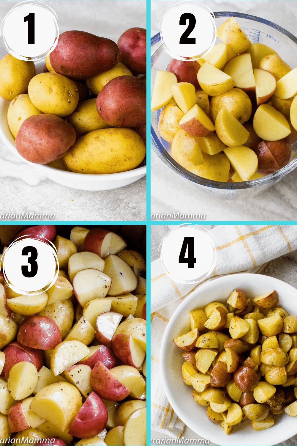 Air Fryer Roasted Potatoes 4 picture collage