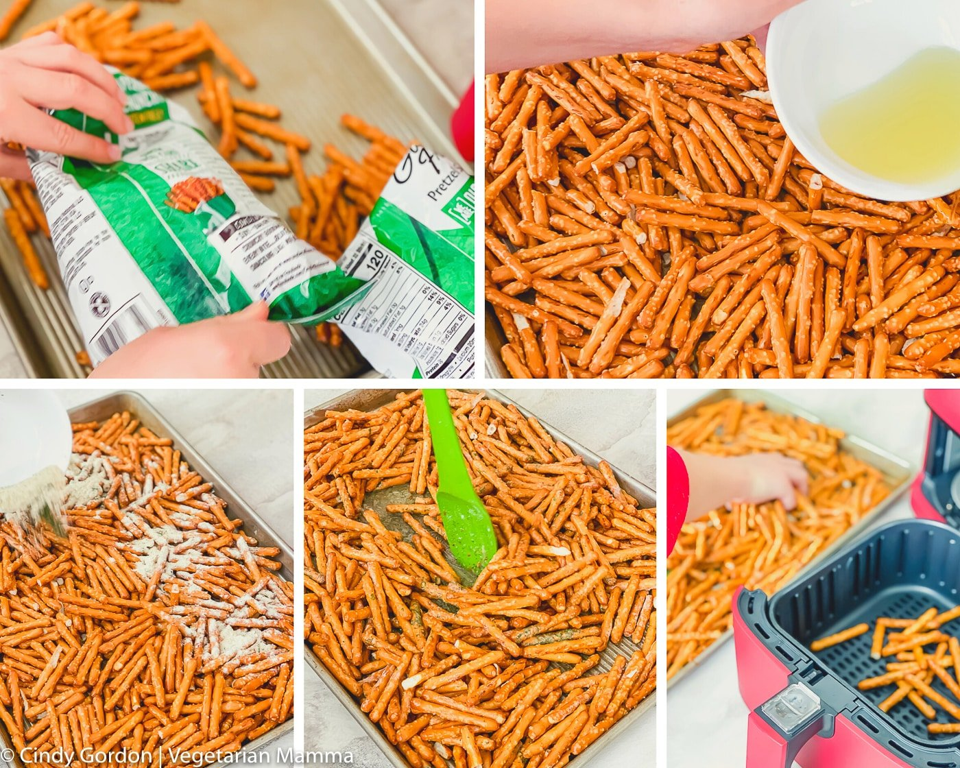 Collage of step by step instructions of how to make air fryer seasoned pretzels