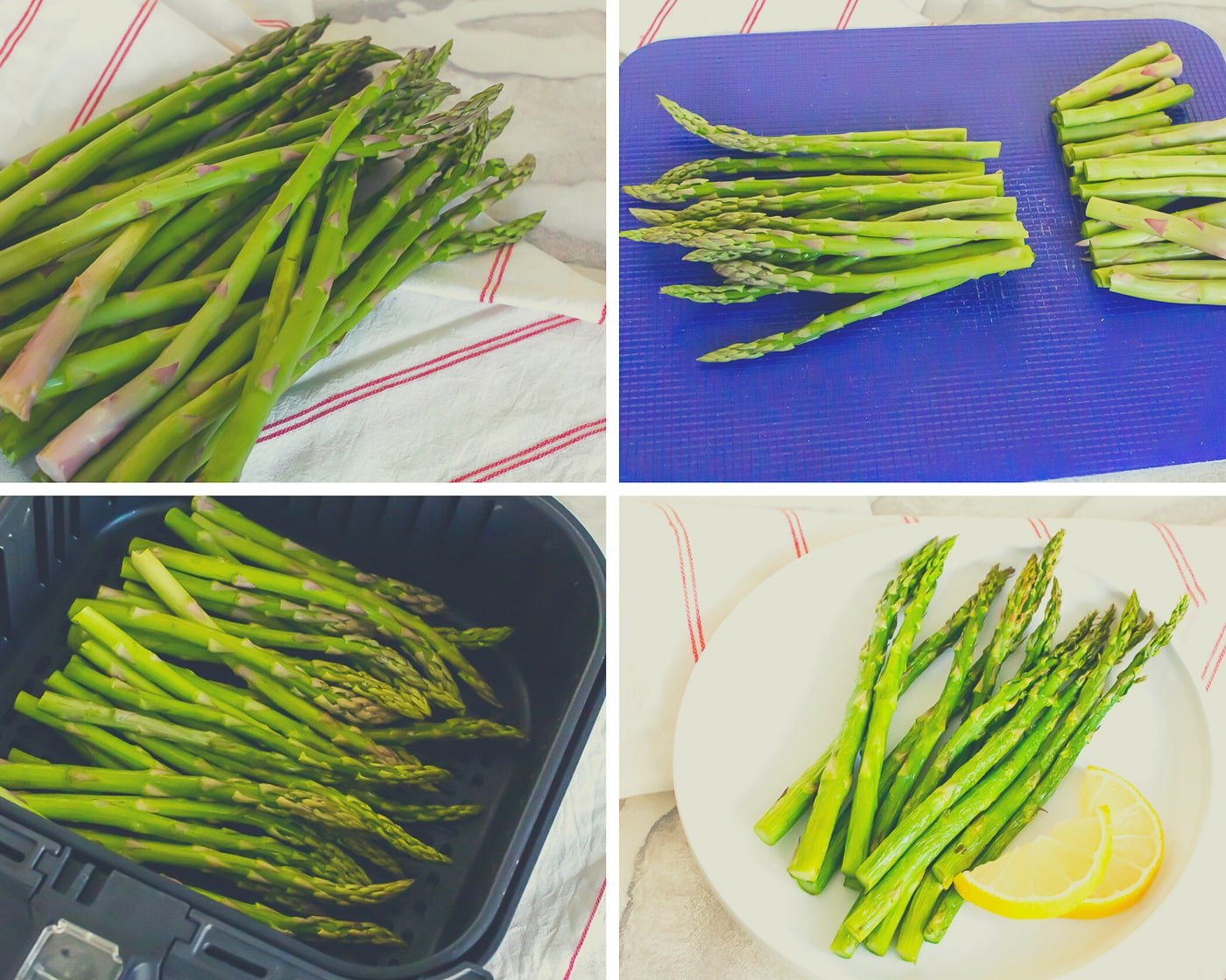 Collage of step by step picture directions of how to make air fryer asparagus