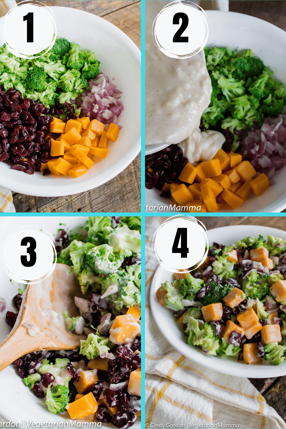 photo collage of four images showing the steps to make broccoli salad