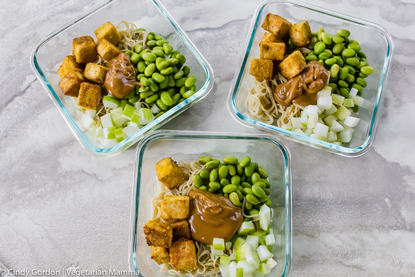 Tofu Noodle Bowl Recipe divided into three bowls