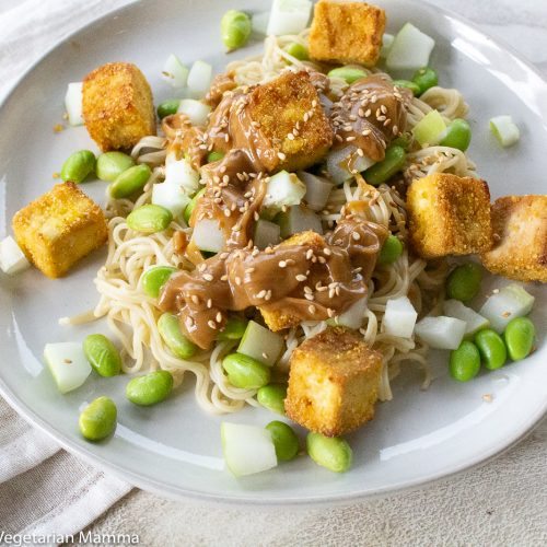 Tofu and noodles on white plate with cloth besides the plate