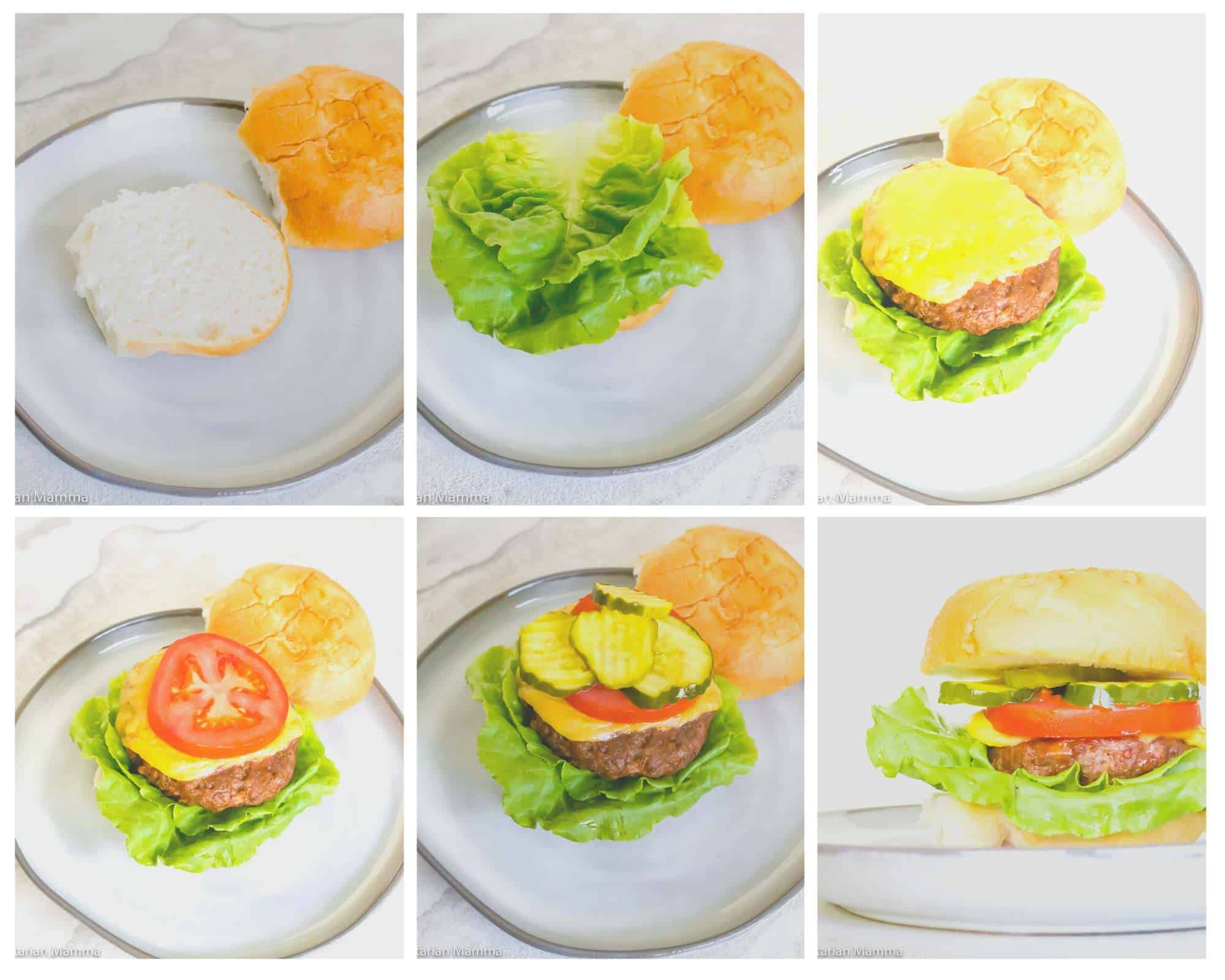 how to construct an air fryer hamburger bun step by step collage