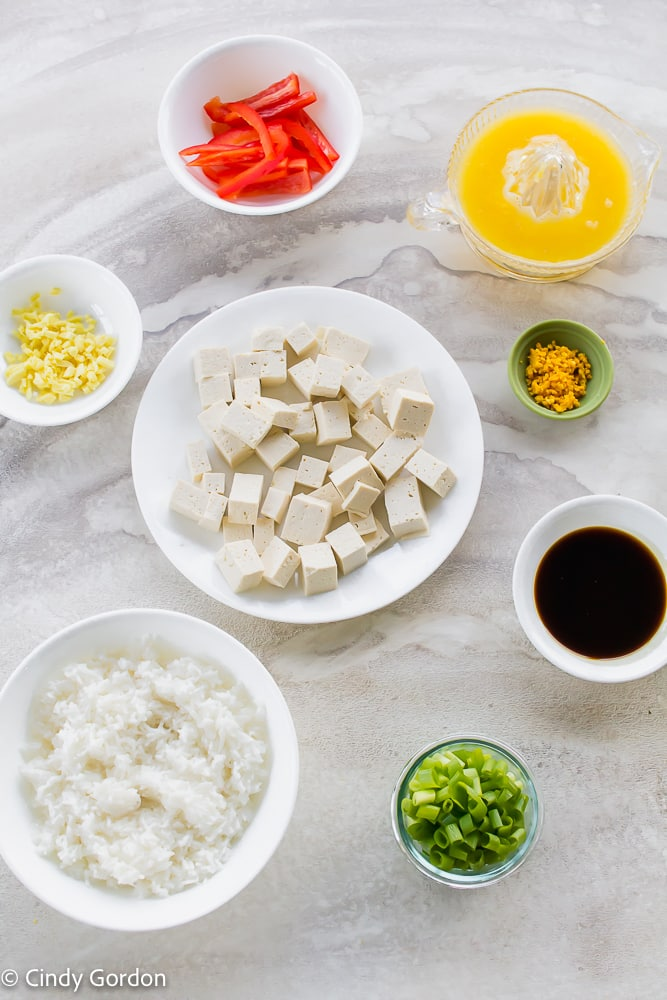 pictures of ingredients for orange tofu