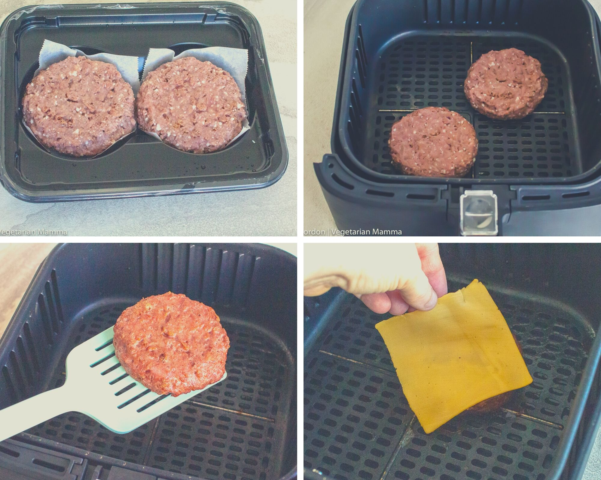 collage picture of step by step instructions for air fryer hamburgers