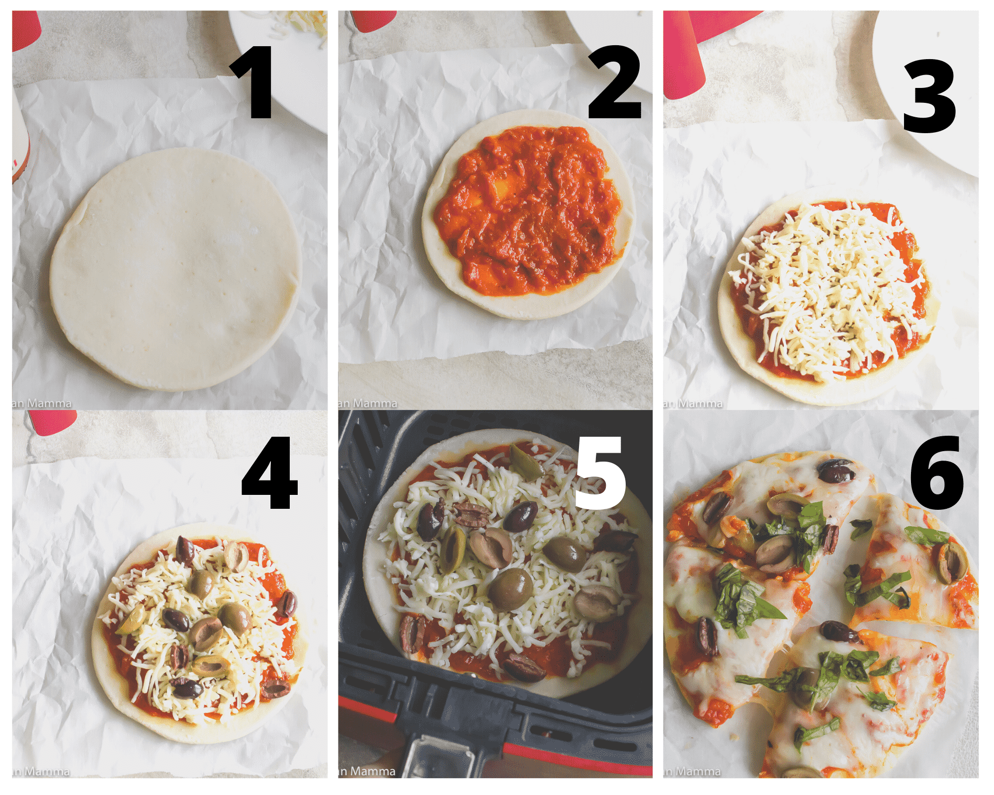Collage of 6 steps to air fryer pizza