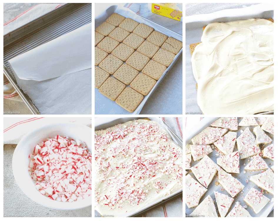 collage of step by step instructions of how to make peppermint bark