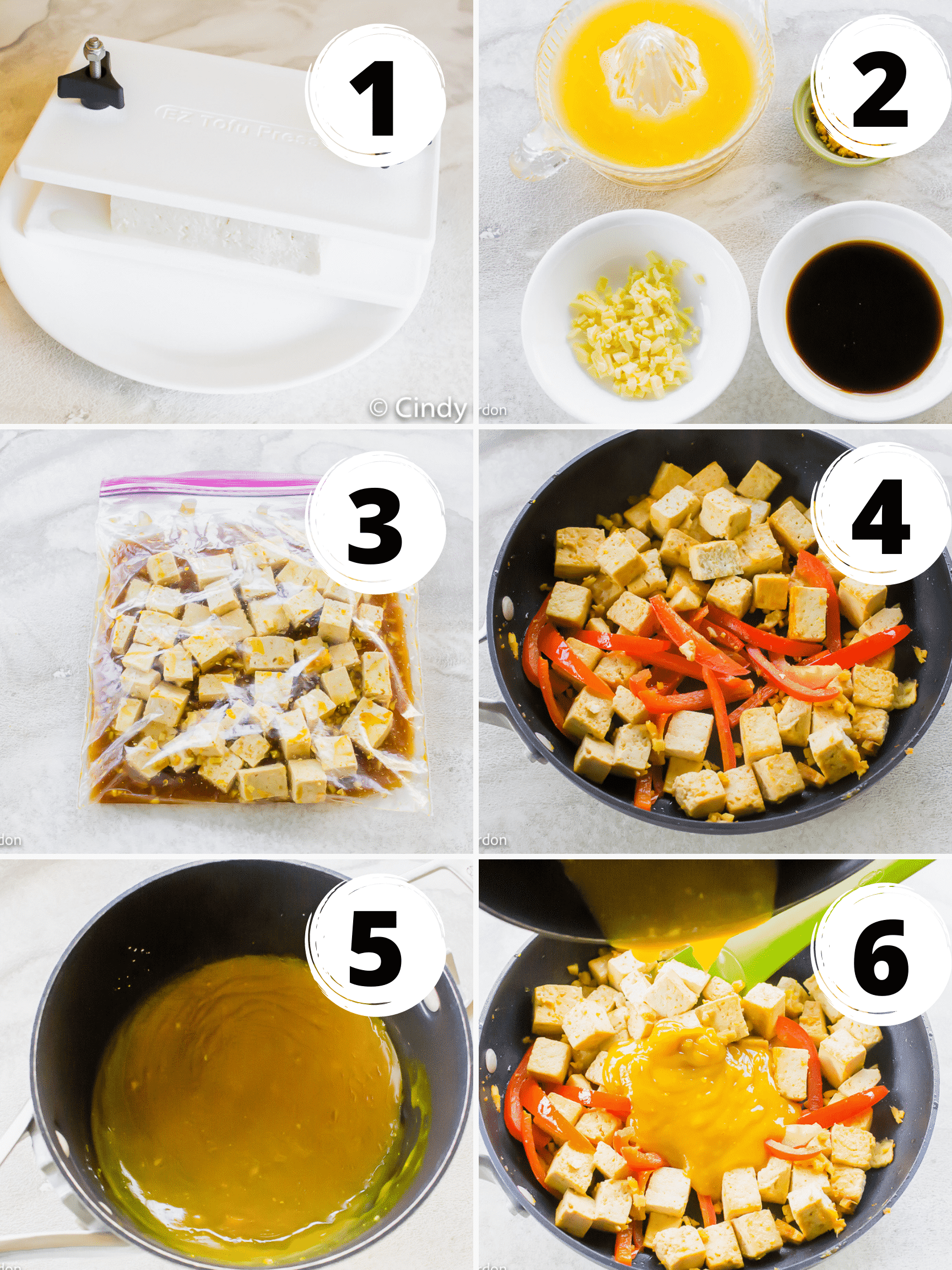 collage picture of the 6 steps it takes to make orange tofu