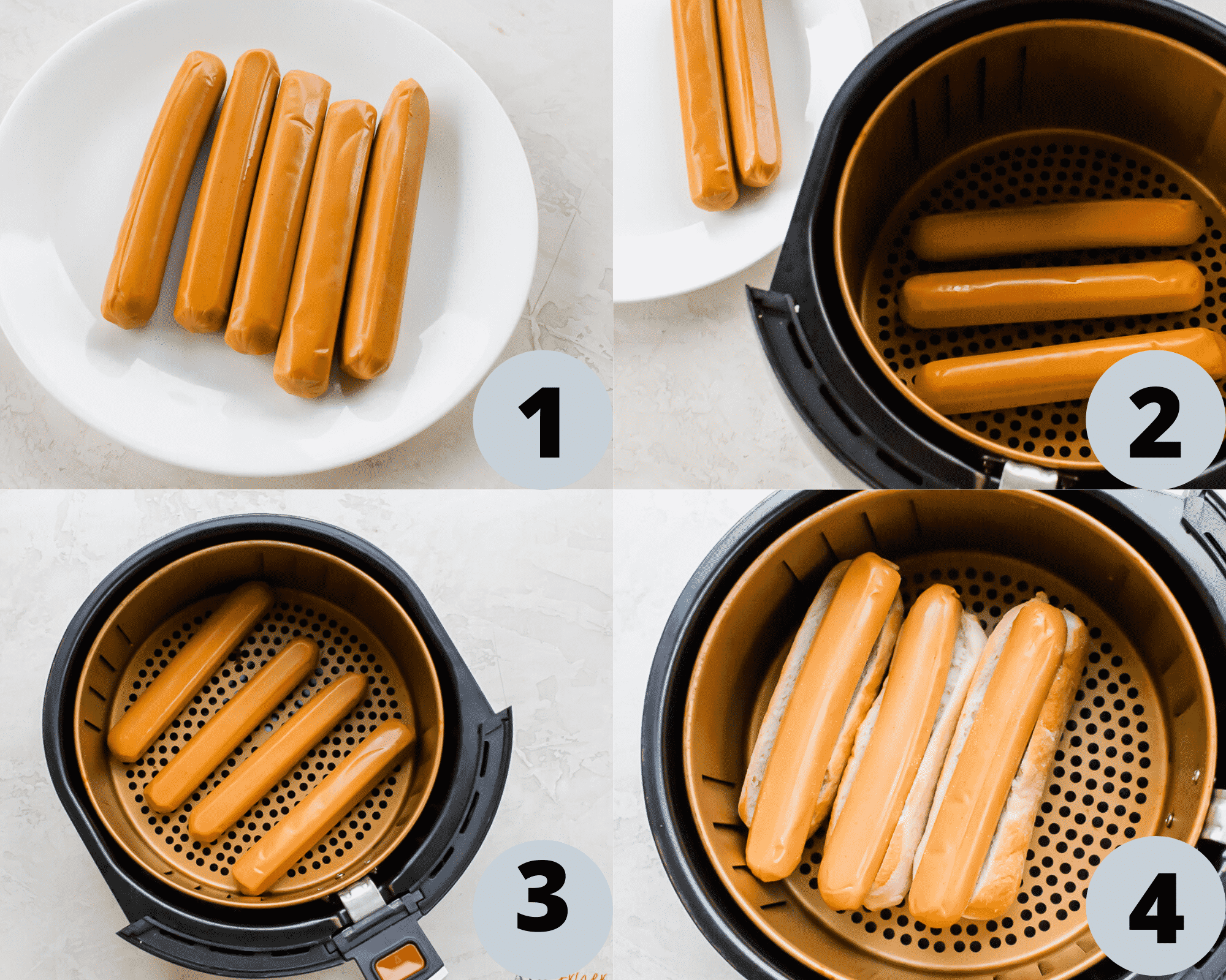 4 pictures showing step by step directions on how to make air fryer hotdogs