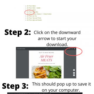 Three images showing the steps of how to download an ebook