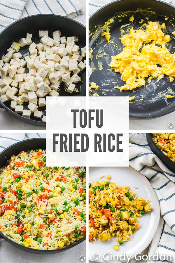 Tofu fried rice is hearty Asian-inspired dish that is filled with hearty protein and veggies. This tofu recipe is fun to make and so flavorful! #friedrice #tofufriedrice #tofurecipes