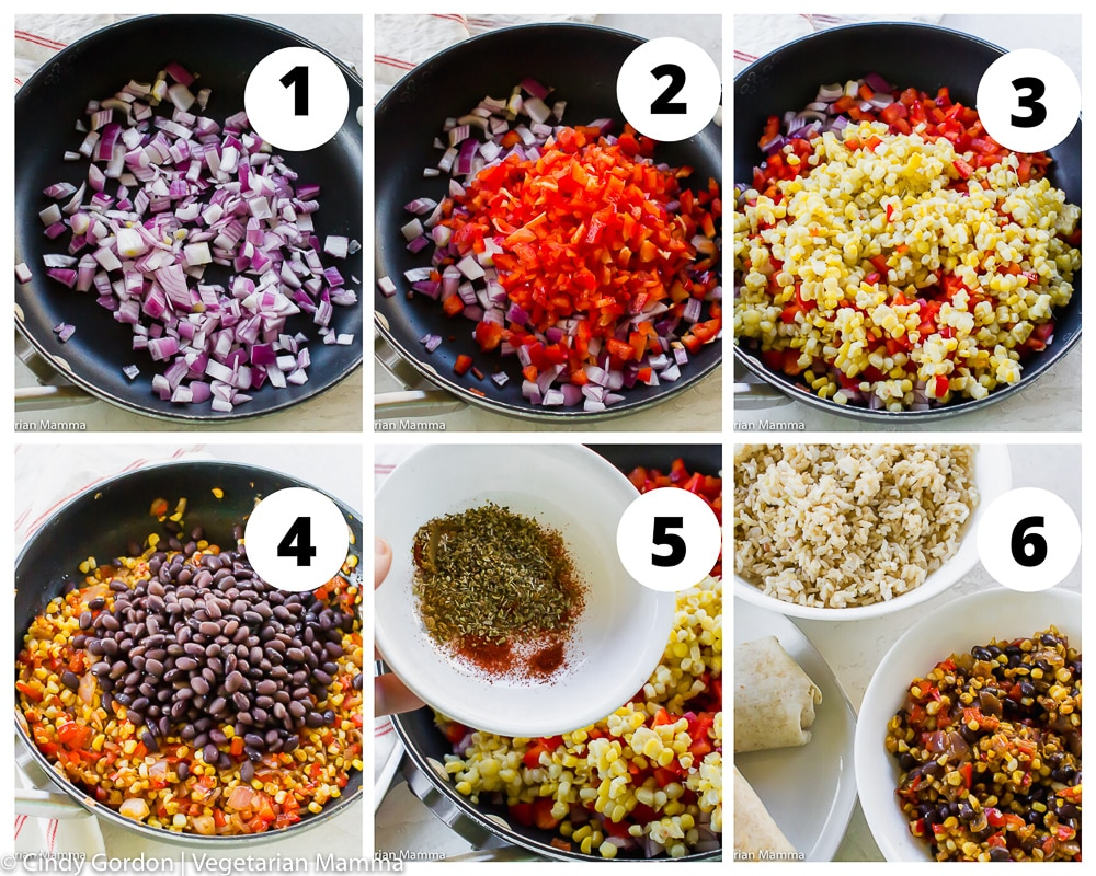 a collage of six photos showing how to make filling for vegan burritos