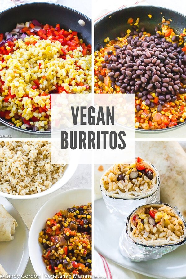 Looking for a fun takeout-style recipe that you can make at home? Try these delicious and hearty vegan burritos! They're filled with protein and veggies to keep you satisfied on the go! #burritos #veganburritos #veganrecipes #veganburritofilling