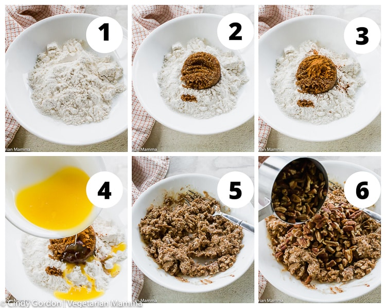 a collage of photos showing instructions for making a pecan streusel topping