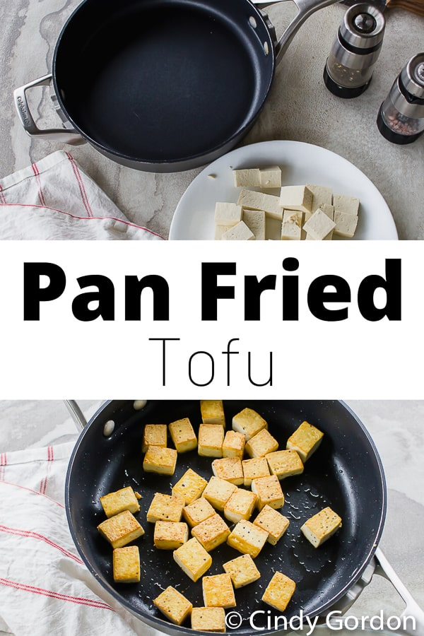 two pan fried tofu pictures, one of completed pan fried tofu and one of an empty skillet