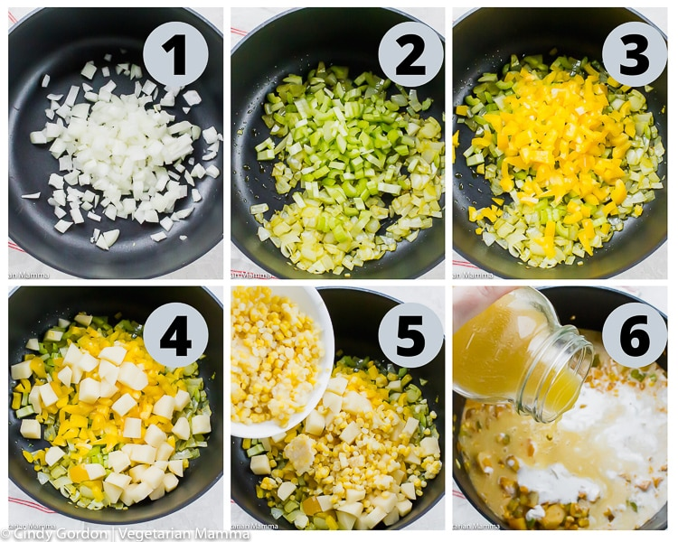 collage of images showing instructions for making vegan corn chowder