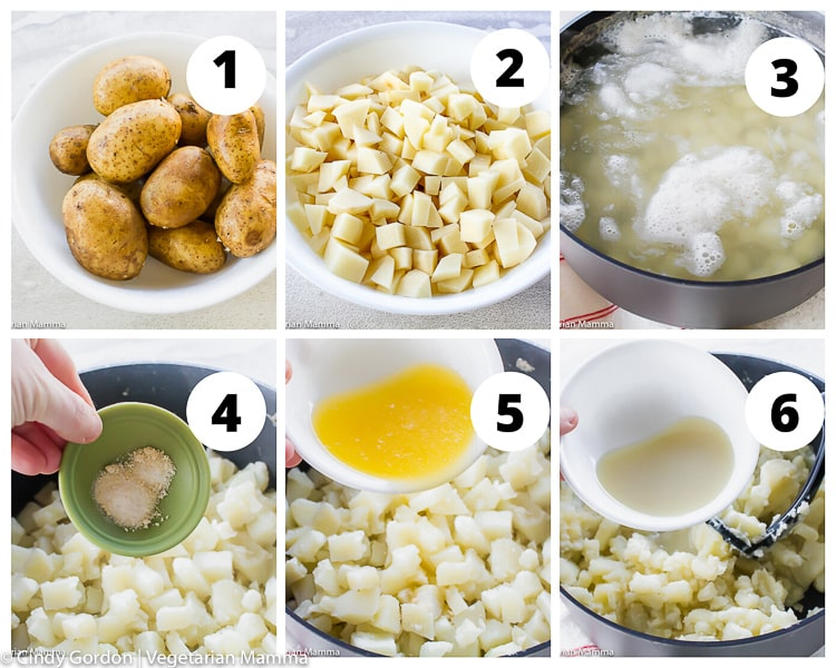 collage of images showing instructions for cooking potatoes for mashed potatoes