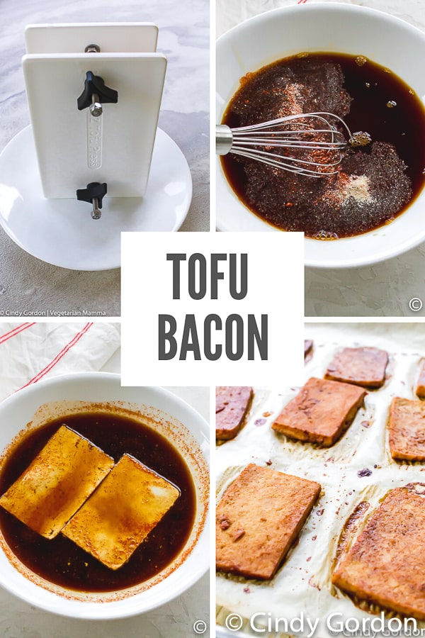 This Tofu Bacon recipe will make you think you're eating the real thing! All the flavor is mixed into a deliciously savory and sweet marinade that fills the tofu with the salty bacon taste! #tofubacon #vegetarianbacon #veganbacon