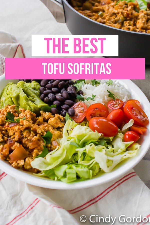 Skip the restaurant and make easy Tofu Sofritas at home! This easy vegan recipe is the perfect filling for bowls, burritos, tacos, nachos, and more! #vegan #mealprep #mexican