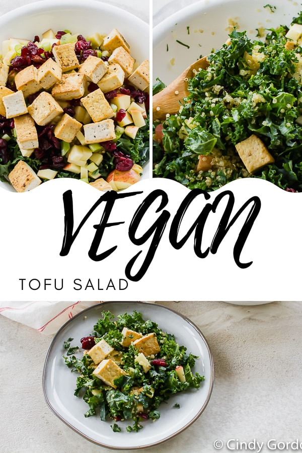 This Tofu Salad is full of delicious fall flavors! Packed with apples, quinoa, dried cranberries, and the bitter bite of kale, add your favorite dressing or use coconut aminos to keep it #glutenfree! #tofu #easysalad