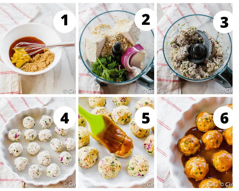 steps to make vegan meatballs with tofu and a sweet glaze