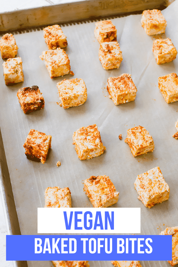 Baked Tofu is a quick and simple vegan protein seasoned with smoked paprika and salt that's ready to eat in less than an hour! Add it to your favorite main dish or serve it alone for the easiest tofu lunch or dinner. #tofu #meatlessmeals #easyvegetariandinner