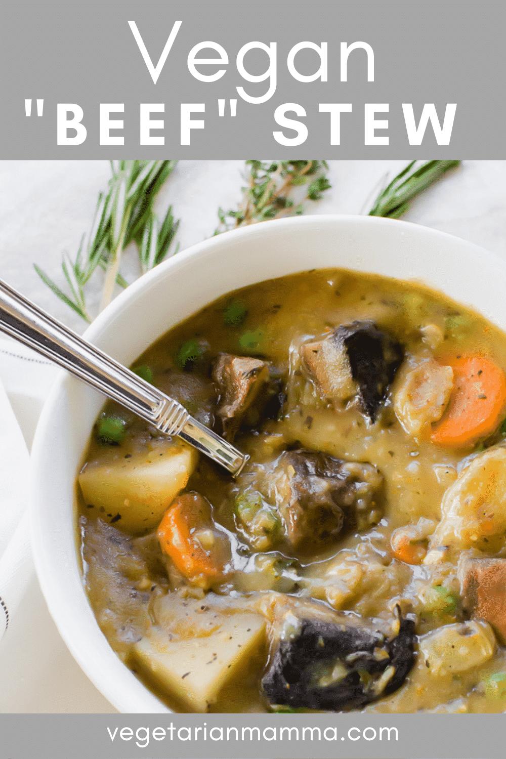 This Vegan Beef Stew is a savory blend of fresh herbs and vegetables. The stew combines plant-based ingredients to deliver superb flavor and texture. #vegan #veganbeefstew #meatlessstew
