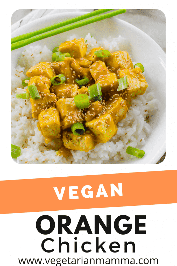 vegan orange chicken pinnable image