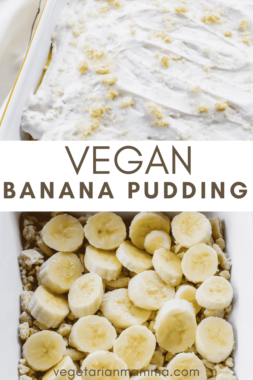 This vegan banana pudding layers sweet from scratch pudding, freshly sliced bananas, crumbled vanilla cookies and vegan whipped cream. Minimal ingredients come together quickly to create a comforting vegan dessert. #pudding #veganpudding #bananapudding #veganbananapudding #dairyfreepudding