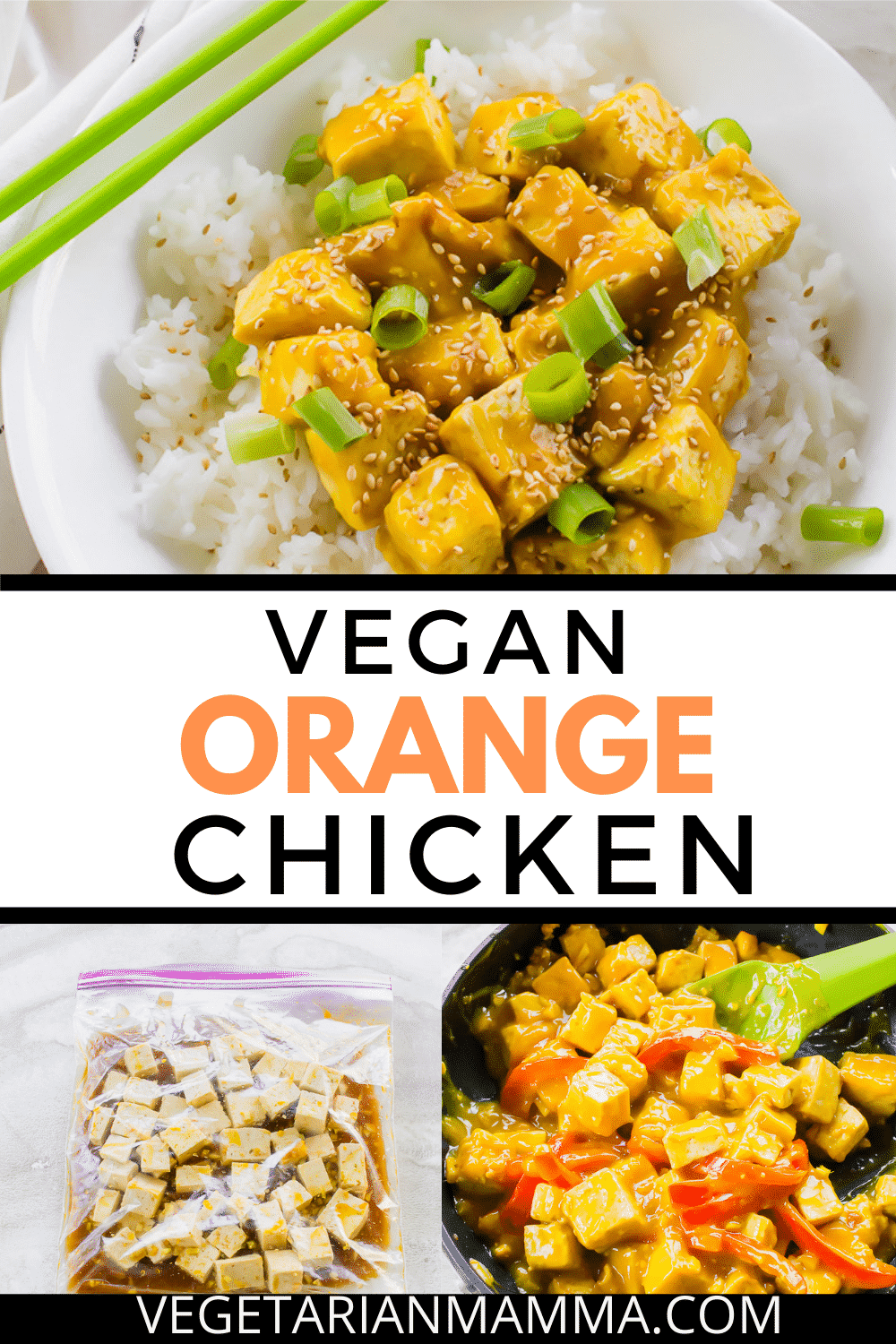 Vegan Orange Chicken is a delicious take on Panda Express Orange Chicken. It is an easy tofu recipe that your entire family will love! #pandaexpress #orangechicken #tofu #veganorangechicken #orangetofu