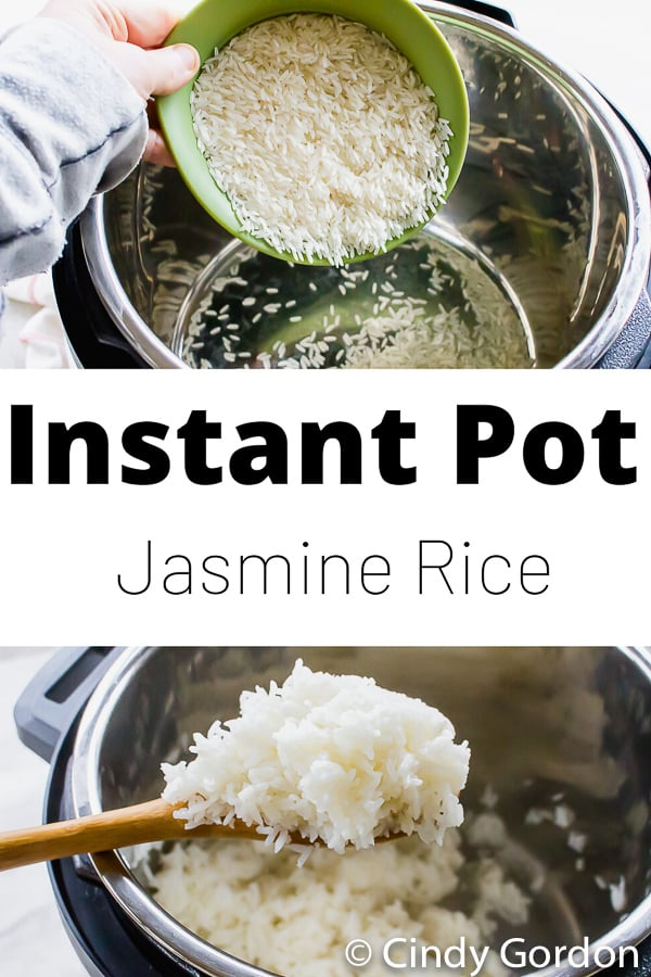 Instant Pot Jasmine Rice is the fastest way to make white rice! This 4-ingredient side dish is great solo or as a base for so many dishes. #instantpot #vegan #whiterice