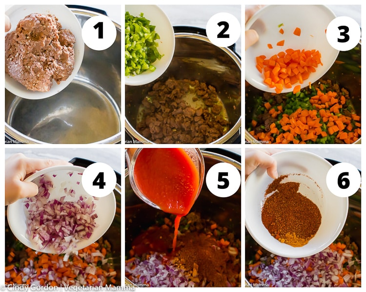 A collage of steps to make vegetarian taco meat