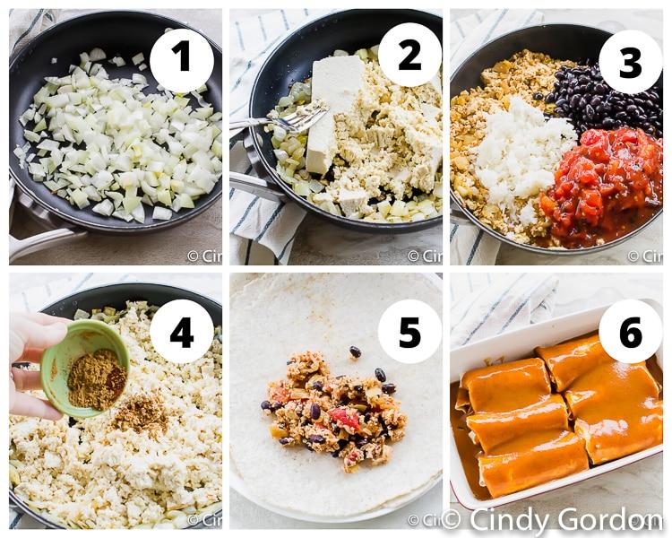 Collage of steps to make vegetarian enchiladas