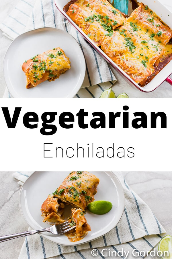 Vegetarian Enchiladas are a hearty and comforting weeknight meal! These tortillas are stuffed with tofu, rice, and beans and smothered in a smooth enchilada sauce. #tofu #vegetarian #mexican