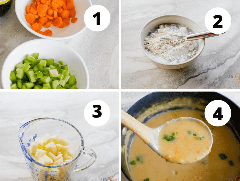 Collage of steps to make vegan potato soup