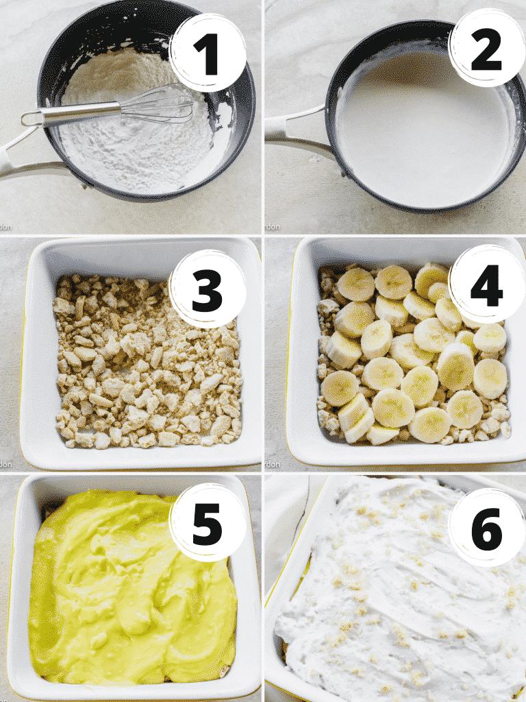 collage of steps to make vegan banana pudding. 6 steps total. Mix