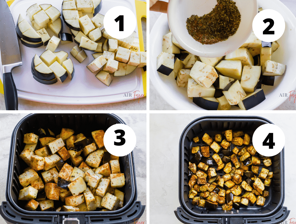 4 picture collage of how to make air fryer eggplant. Dice eggplant, add oil and spices then air fry