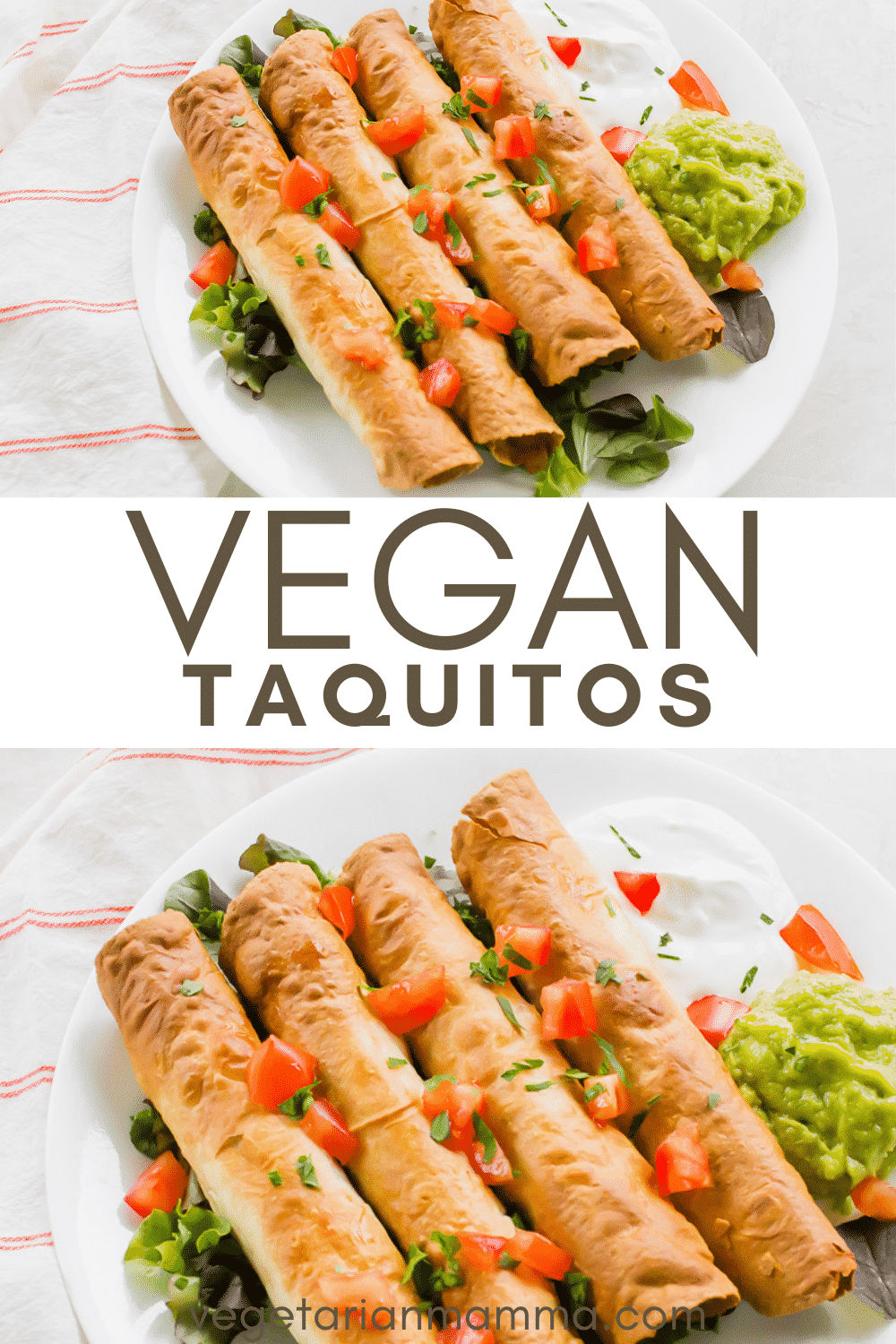 Vegan Taquitos are the crispiest rolled taco! Stuff these baked tortillas with your favorite taco toppings and Beyond Meat. #mexicannight #tacotuesday