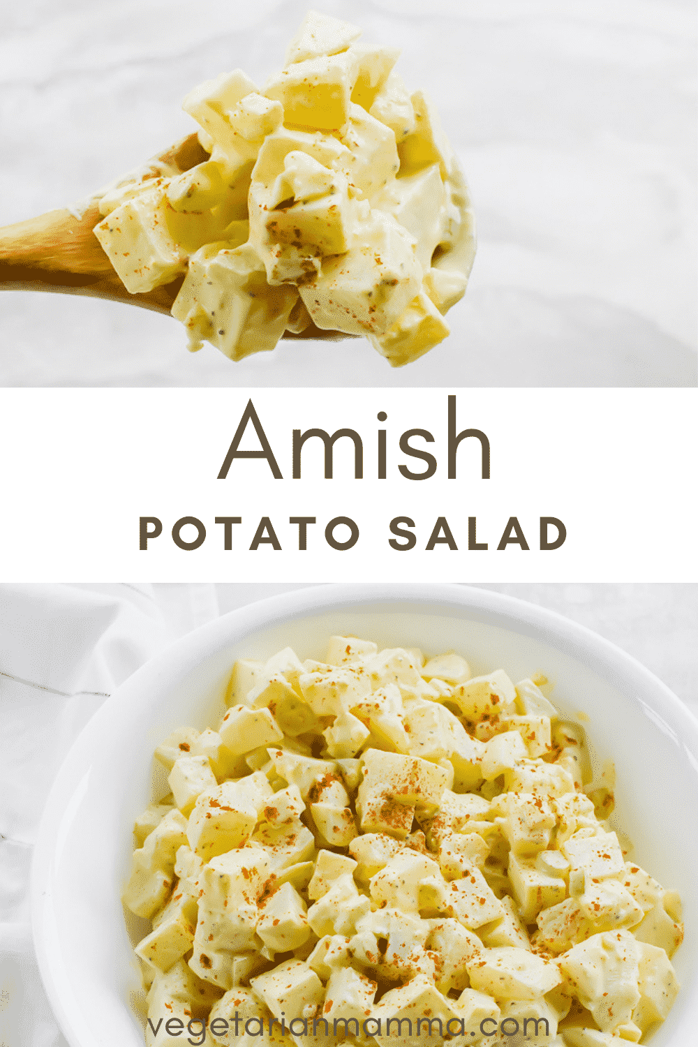 Amish Potato Salad is my favorite BBQ side dish! This is the best potato salad recipe with hard boiled eggs, onions, and celery wrapped in a sweet and tangy yellow mustard dressing. #bbq #easyrecipe #sidedish #amishpotatosalad #potatosalad