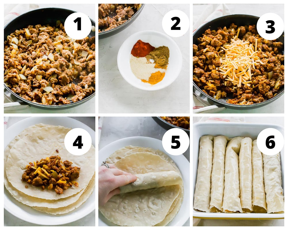 Collage of steps to make taquitos