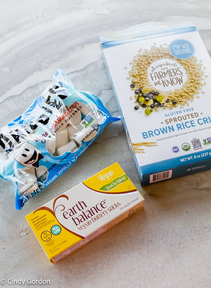vegan marshmallows, vegan butter, and vegan crispy rice cereal