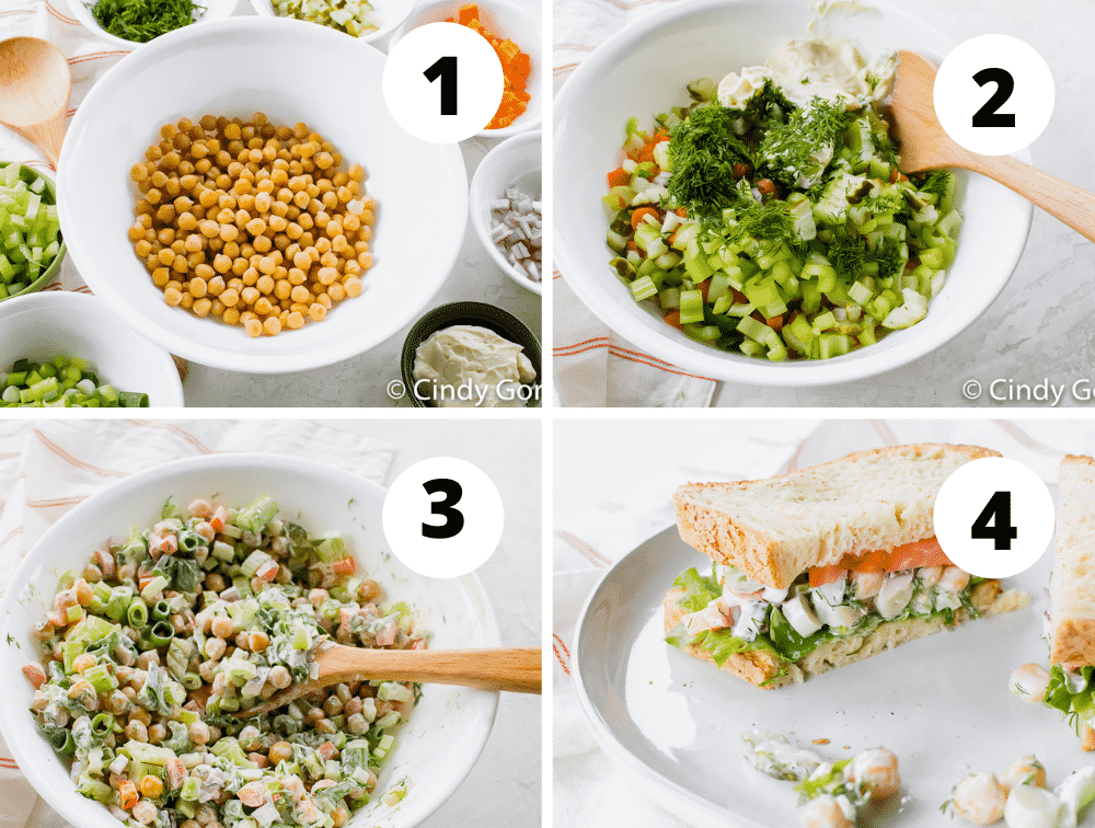 Collage of steps to make vegan chicken salad