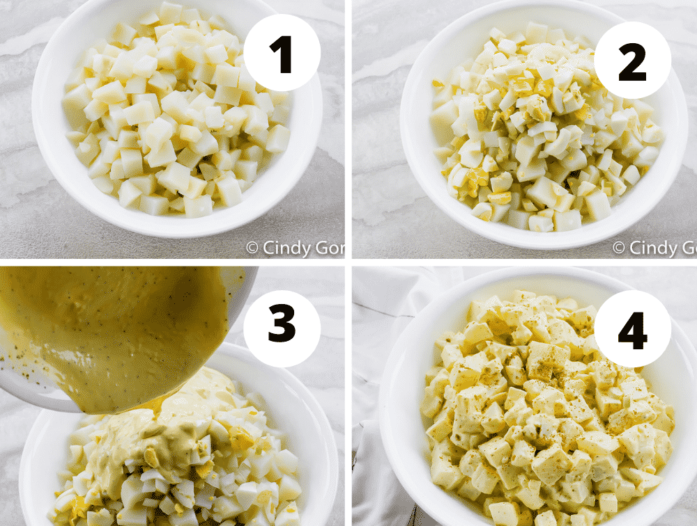 Collage of steps to make the best Amish potato salad
